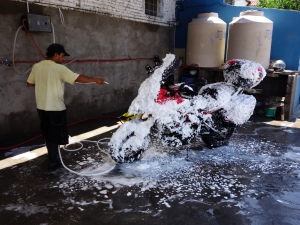 Washing bike in Salta 1